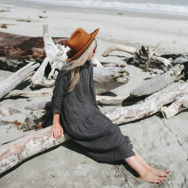 Seaside Tones Oversized Linen Dress