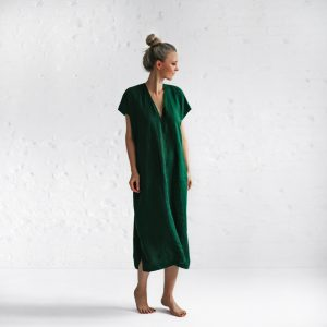 Seaside Tones V Linen Dress green
